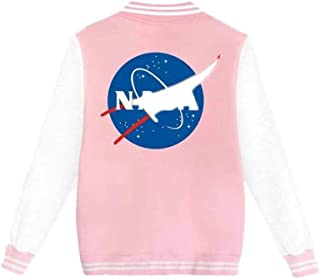 Coli&Tori Women's Single Breasted Letterman NASA Print Baseball Varsity Jacket