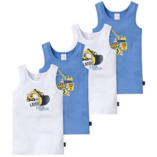 Schiesser - Kids Boys - Unterhemd - 4er Spar-Pack (104 Blau/Weiß - Bagger Motiv)