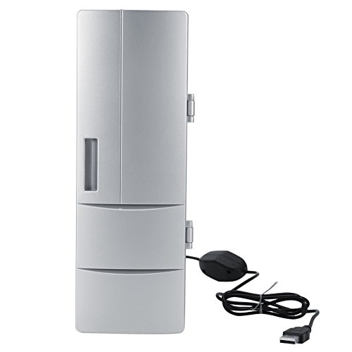Refrigerador Mini USB Compacto, Mini Nevera con Congelador de Cerveza para Bebidas y Refrigeración y Calefacción Uso de la Oficina del Automóvil de Viaje