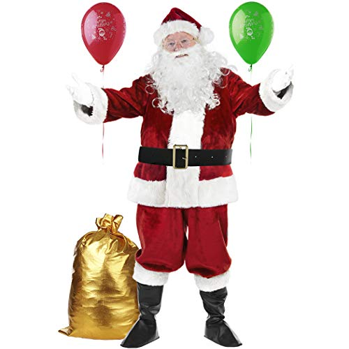 Deluxe Santa Costume for Men Santa Claus Suit Adults Christmas Complete Santa Set Outfit Wine Red