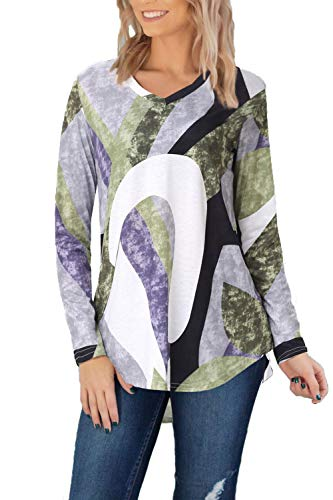 Beauhuty Womens Tops Casual Comfy Print V Neck Tunic Tops Long Sleeve Blouses (Print Green 1,S)