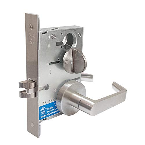 MAAX ML3042 Heavy-Duty Privacy Mortise Lockset, Grade-1 – Satin Stainless Steel