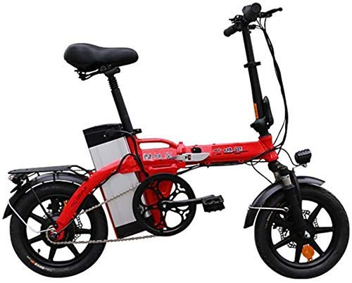 GYL Ebike Scooter City Travel Portable 14 pulgadas Aleación de aluminio Bicicleta plegable Freno de disco doble Absorción de golpes Bicicleta eléctrica de viaje pequeña aplicable a la ciudad familiar