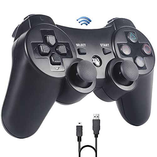 Controller für PS3 ,Sefitopher Wireless Controller für Playstation 3 Bluetooth Gamepad mit Double Shock, Ladekabel