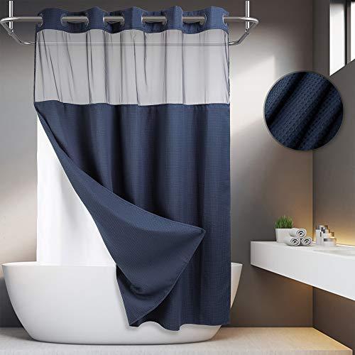 Duschvorhang, Waffelgewebe, ohne Haken, mit Einrast-Futter, 71 x 74 cm, Hotelqualität, Wellness-Stil, Badevorhang, Marineblau
