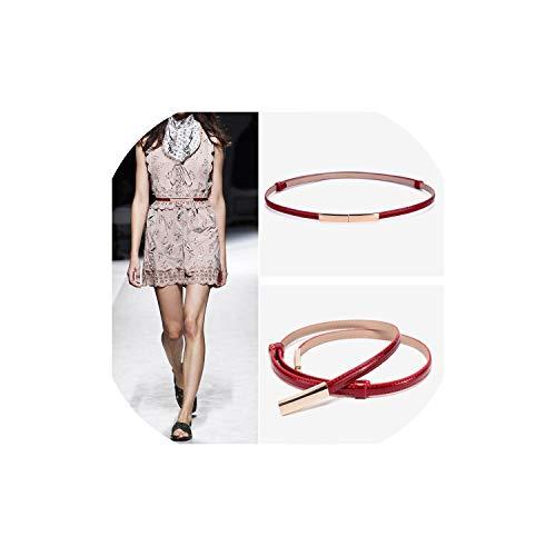 Lederen Vrouwen Riem Voor Vrouwen Riem Vrouwelijke Legering Gesp Vintage Metaal Goud Blauw Zwarte Riem N60222-Rood-105CM