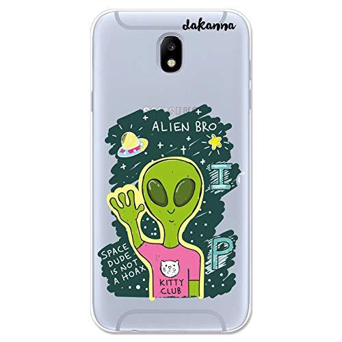 dakanna Custodia Compatibili con [Samsung Galaxy J7 2017] Sfondo Trasparente con Disegni [Amico Alieno] in Morbida Silicone TPU Flessibile, Shell Case Cover in Gel per Smartphone