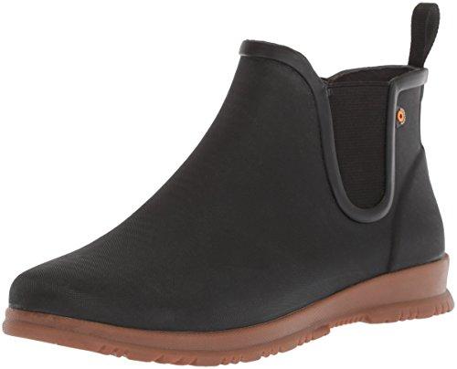 BOGS Women's Sweetpea Ankle Height Waterproof Rubber Rain Boot, Black, 9 M US