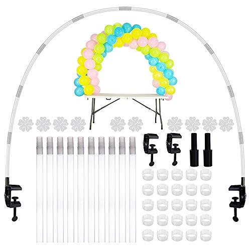 JNCH Kit Arco Globos Soporte de Mesa Table Balloons Arch Frame Arco de Globos Estructura para Decoración Cumpleaños Fiesta Baby Shower Bautizo Boda Accesorios Todo Incluído (Reutilizable, Kit Cristal)