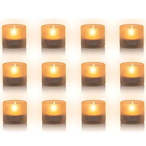 Nuptio Portacandele in Vetro Satinato 12 Pezzi, Portacandele Mini Tealight, Larghezza 4.3cm Altezza 3.9cm per Regali, Matrimoni, Bomboniere e Decorazioni per la Casa