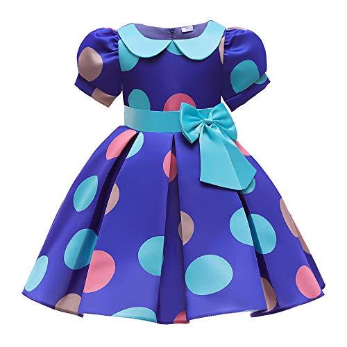 Vestido para nias Primavera Bowknot Vestido para nios Manga abullonada Impresin de lunares Vestido de princesa Vestido de nia de flores Nios Boda Fiesta de cumpleaos Princesa Falda-azul_130