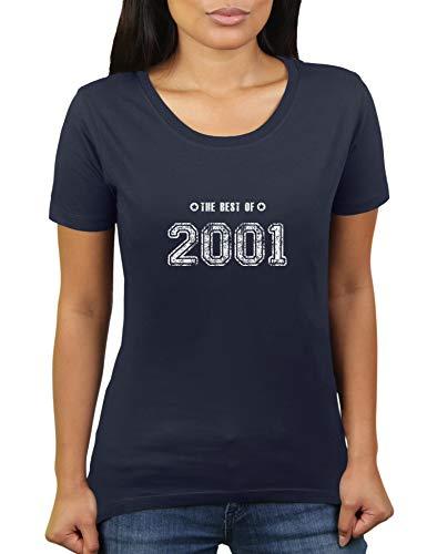 Geboren 2001 - Jahrgang Geburtstagsgeschenk - The Best of - Damen T-Shirt von KaterLikoli, Gr. M, French Navy