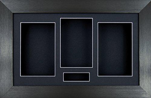 14,5 x 21,59 cm BabyRice Peltre cepillado caja de borde 3D atrae con diseño de flores de marco de medalla de recuerdos/Negro Soporte de apertura para 4/protección negra