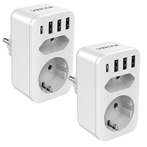 VINTAR 2PC Enchufe USB 6 en 1, Ladron Enchufes (4000W) con 3 Cargadores USB (2.4A) + 1 Puerto Tipo C (3A)+1 Toma de CA + 1 Enchufes EU, Regleta Enchufes Multiple Adaptador Enchufe con USB España