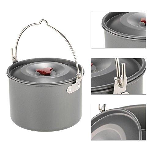 Ebestus 4L Outdoor Aluminium Saucepan met Deksel, Rugzak Koken Picknick Pot Pan Camping Stove Tool voor Camping, Backpacking, Wandelen, Noodbereidheid