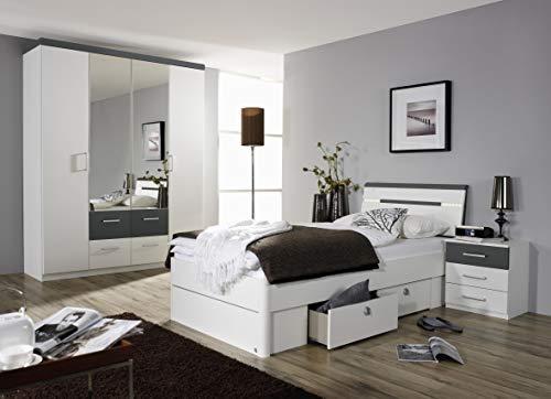 Rauch Möbel Rasa Nachttisch-Set, 2 Nachttische in Weiß / Grau Metallic, inklusive 3 Schubladen, Maße pro Nachttisch BxHxT 50x54x38 cm