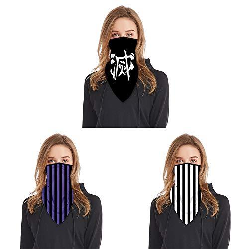 GGOODD Iguro Obanai Impresión De Patrón De Rayas Cosplay Mascarilla Demon Slayer Pasamontañas Deportes Pañuelo Largo para Hombres Mujeres