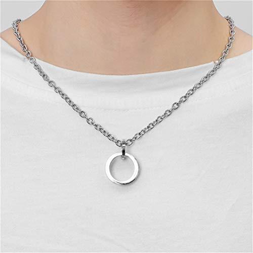 Collar con colgante de anillo de acero inoxidable simple y exquisito collar de gota redonda de clavícula, regalo de fiesta para mujeres
