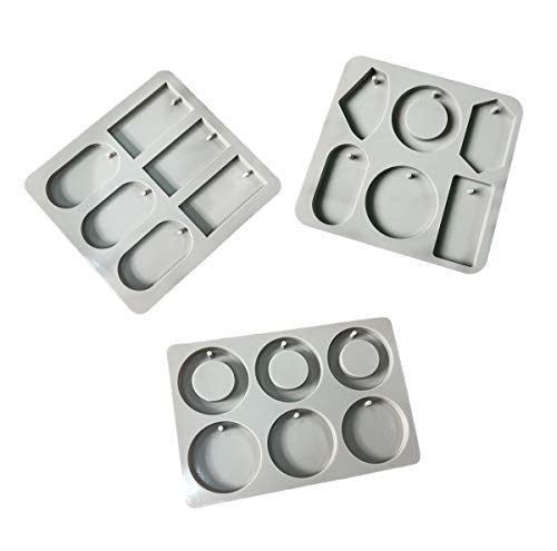 Allinlove 3 Pack Silicone Wax Molds Resin Jewelry Molds Wax Tablets Mold Aromatherapy Wax Candle Plaster Epoxy Soap Silicone Mold Resin Clay Mold for DIY Jewelry Craft Making Pendant Bookmark Necklace