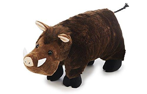 Kissen Plüsch Wildschwein ca. 54 x 40 cm Farbe dunkelbraun mit hellbrauner Mähne Kuschelkissen Plüschtier Kuscheltier Jagd Trophäe
