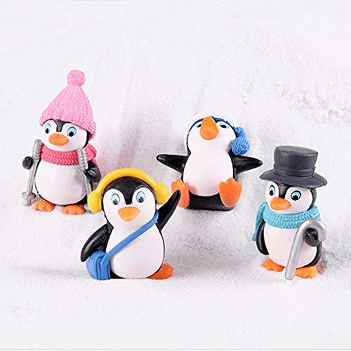Figuras de pingüino en miniatura, 4 piezas, mini pingüino de invierno, decoración bonita de resina, manualidades, mini paisaje, miniatura, figuras de hada, 4 Pieces, Tamaño libre