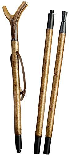 Stock Fachmann Bâton de cible en 3 parties avec fourchette en corne de cerf Charge maximale 100 kg Marron