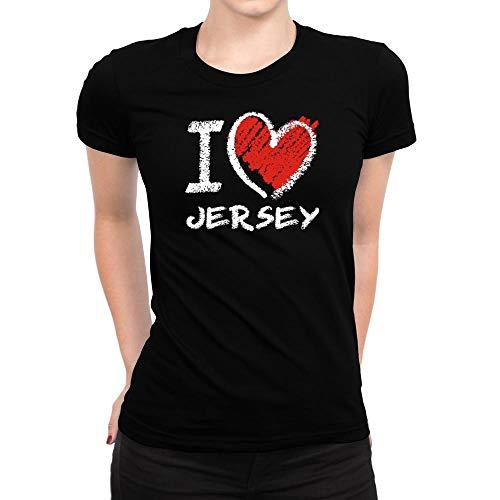 Idakoos I Love Jersey Chalk Style Camiseta para mujer - Negro - Medium