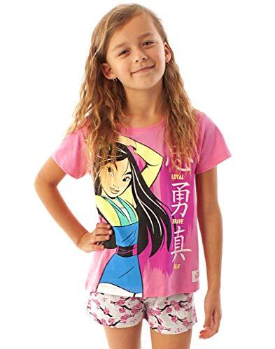 Mulan Disney Pijamas Loyal Brave True Girl'S Pink tee & Shorts PJs Conjunto