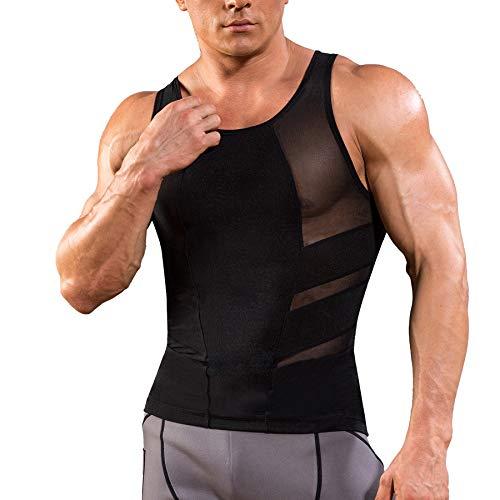 Bingrong Unterhemd Herren Figurformende Shapewear Bauch Weg Unterwäsche Stark Body Shaper Kompressionsshirt Unterhemden Feinripp Tank Tops für Männer Weste