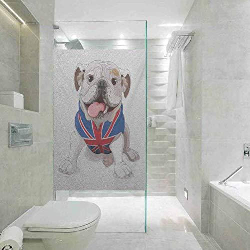Blendfreie und UV-beständige Glasfolie, englische Bulldogge mit einer Union Jack-Weste, Cartoon-Stil, für Zuhause, Badezimmer, Toilette, Dekoration, 45 x 89,9...