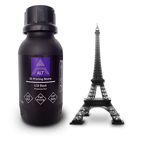 ALT 3D Resins LCD Black 500 gr, Dutch origin (EU), Rapid UV resin, Low odor, 385-420 nm source luminosa, 3D Resin EU
