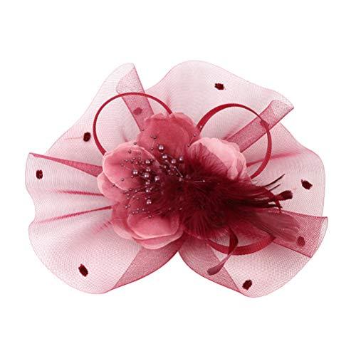 PRETYZOOM Fascinators Chapeaux Cheveux Cerceau Fleur Maille Rubans Plumes Net Cerceau pour Le Thé Cocktail de Mariage (Rouge Foncé)