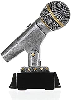 Decade Awards Microphone Trophy, Silver - Mic Drop Award - 6 Inch Tall - Engraved Plate on Request