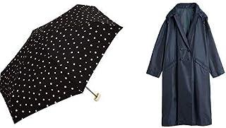 【セット買い】ワールドパーティー(Wpc.) 雨傘 折りたたみ傘  ブラック 黒  50cm  レディース クラッチバッグタイプ ドット ミニ 106-158 BK+レインコート ポンチョ レインウェア ネイビー FREE レディース 収納袋付き R-1109 NV