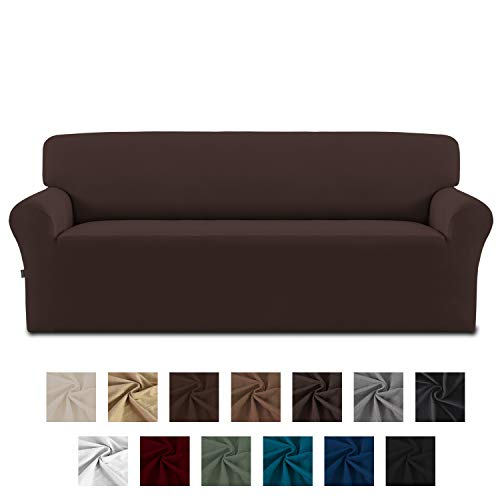 Easy-Going Fleece Stretch Sofa Slipcover – Spandex Anti-Slip Soft Couch Sofa Cover, Washable Furniture Protector with Anti-Skid Foam and Elastic Bottom for Kids, Pets(Sofa,Chocolate)