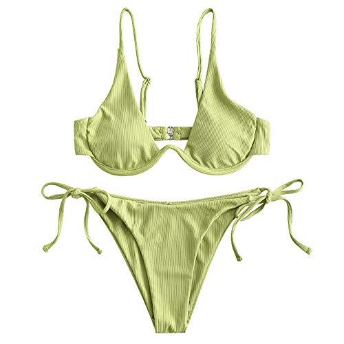 ZAFUL Women's Leopard Print Underwire High Cut Triangle Bikini Set Swimsuit (B-Green Snake, S)
