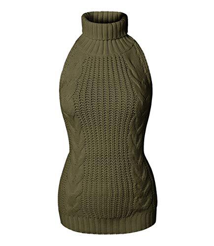 Olens Japan Style Turtleneck Sleeveless Open Back Sweater