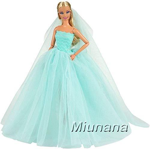 Miunana 1x Vestido de Novia Ropa Boda con 1 Velo Accesorios como Regalo para 11.5 Pulgadas 28 - 30 cm Muñeca (Azul)