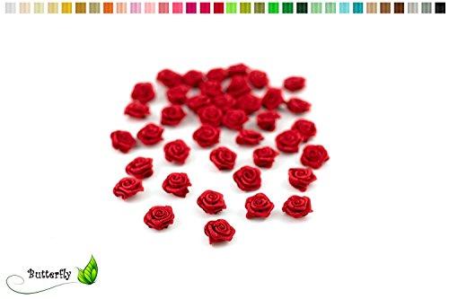 Rosen mini 10mm x 20 Stück Satinrosen Aufnäher Deko Blumen Röschen zum Basteln Haarschmuck kleine Rosenköpfe Farbe: Rot