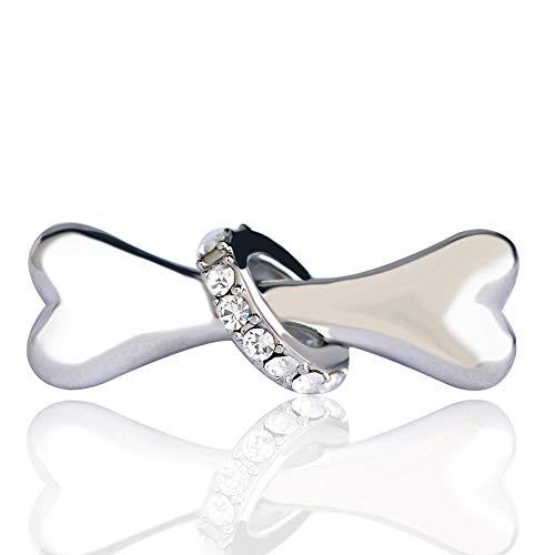 XZROOKEI Einfache Hund Form broschen Corsage kristall runde Kette Hemdkragen Clip manschettenknöpfe Jungen mädchen pin Silber Farbe