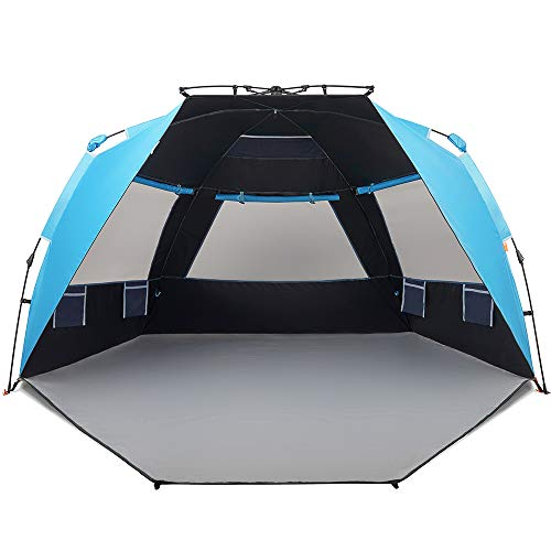 Easthills Outdoors Instant Shader Dark Shelter Deluxe XL Easy Up 4 Person Beach Tent Sun Shelter UPF 50+ met Extended Rits Porch