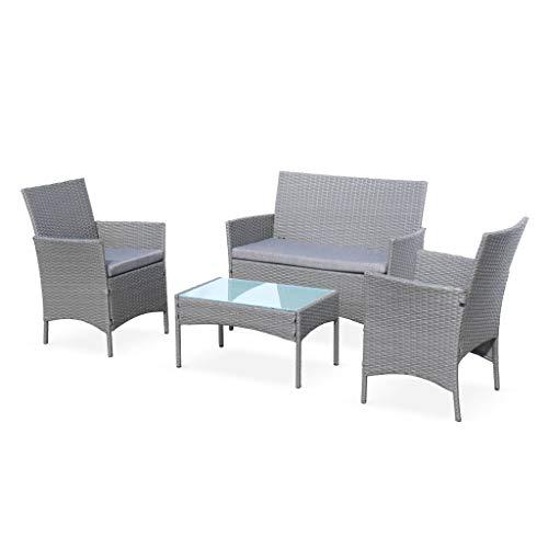 Muebles de jardín Moltes en Mimbre Gris y Cojines Grises - 1 sofá, 2 sillones, 4 Asientos