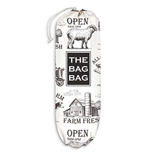 Farmhouse Kitchen Plastic Bag Holder Farm Animals Grocery Shopping Bags Carrier Storage Organizer Dispenser Home Decor Gift for Housewarming Thanksgiving Christmas Extra Large(23  x 9 )