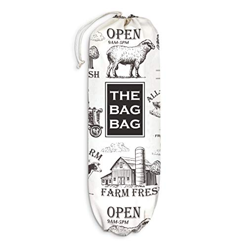 Farmhouse Kitchen Plastic Bag Holder Farm Animals Grocery Shopping Bags Carrier Storage Organizer Dispenser Home Decor Gift for Housewarming Thanksgiving Christmas Extra Large(23