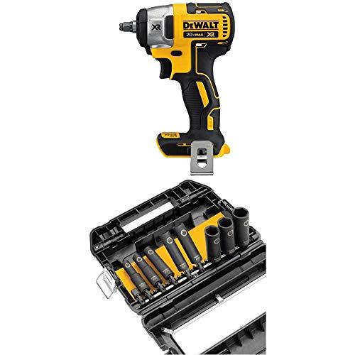 DEWALT DCF890B 20V Max XR 3/8' Compact Impact Wrench (Tool Only) with DEWALT DW22838 3/8-Inch 10-Piece IMPACT READY Socket Set