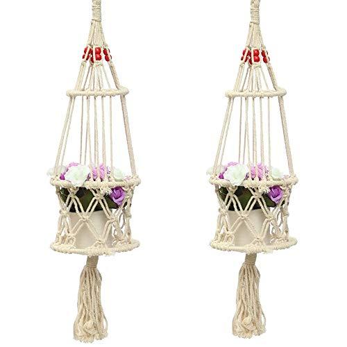 QiHaoHeji Glazen Bal Vaas Houder Bloemenbed Hangende Mand 63 cm 4 Benen Romig-wit Jute Plant Hanger Bloempot Plant Terrarium Transparant