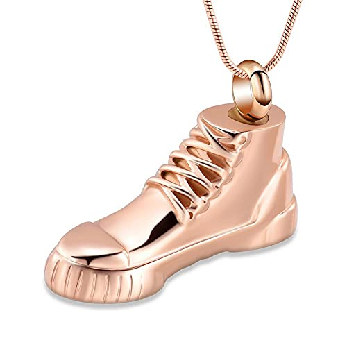 BHSICSACLJ Collar de joyería Joyería Conmemorativa de Zapatos de Acero Inoxidable para Hombres Collar de Urna de Recuerdo Colgante de cremación de Cenizas