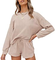 ZESICA Women's Waffle Knit Long Sleeve Top and Shorts Pullover Nightwear Lounge Pajama Set with Pockets