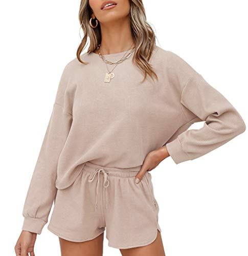 ZESICA Women's Waffle Knit Long Sleeve Top and Shorts Pullover Nightwear Lounge Pajama Set with Pockets Beige