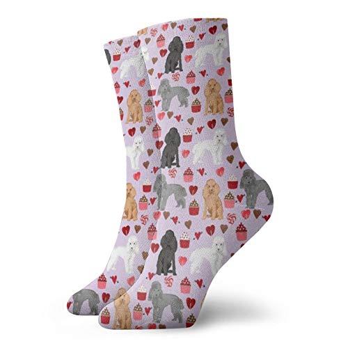 Colin-Design Pudel gemischte Valentinstags-Socken mit Cupcakes & Herzen, personalisierte Socken, Sportsocken, 30 cm, Crew-Socken für Männer & Frauen
